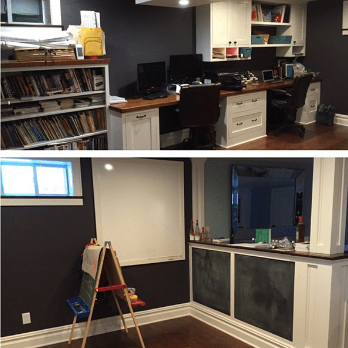 home office with children's area in basement