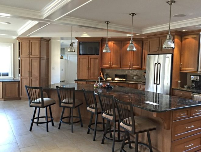 kitchen island with lots of seating