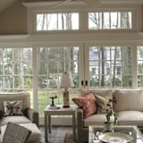 sun room with crown molding