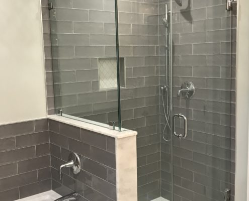 bathroom renovation with subway tile
