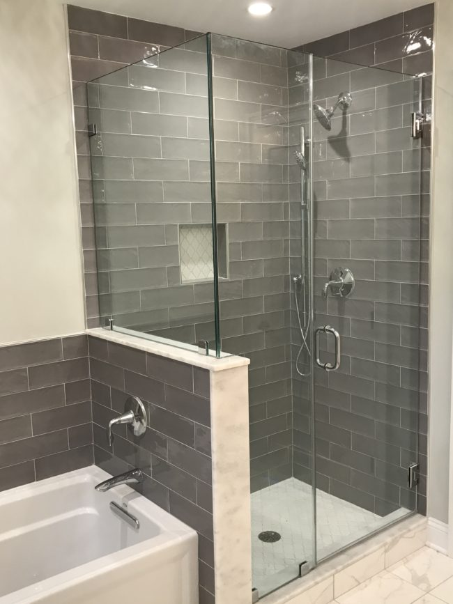 bathroom remodel with subway tile