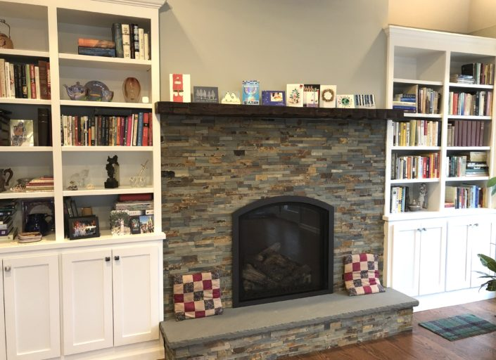 Fireplace with Custom Cabinets
