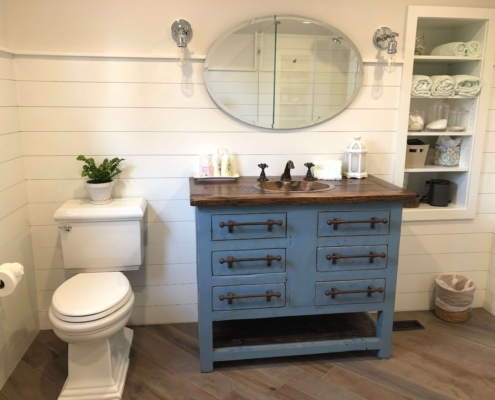 Rustic Vanity with Teal Base