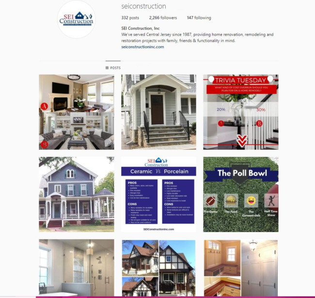 Instagram project planning for remodeling ROI