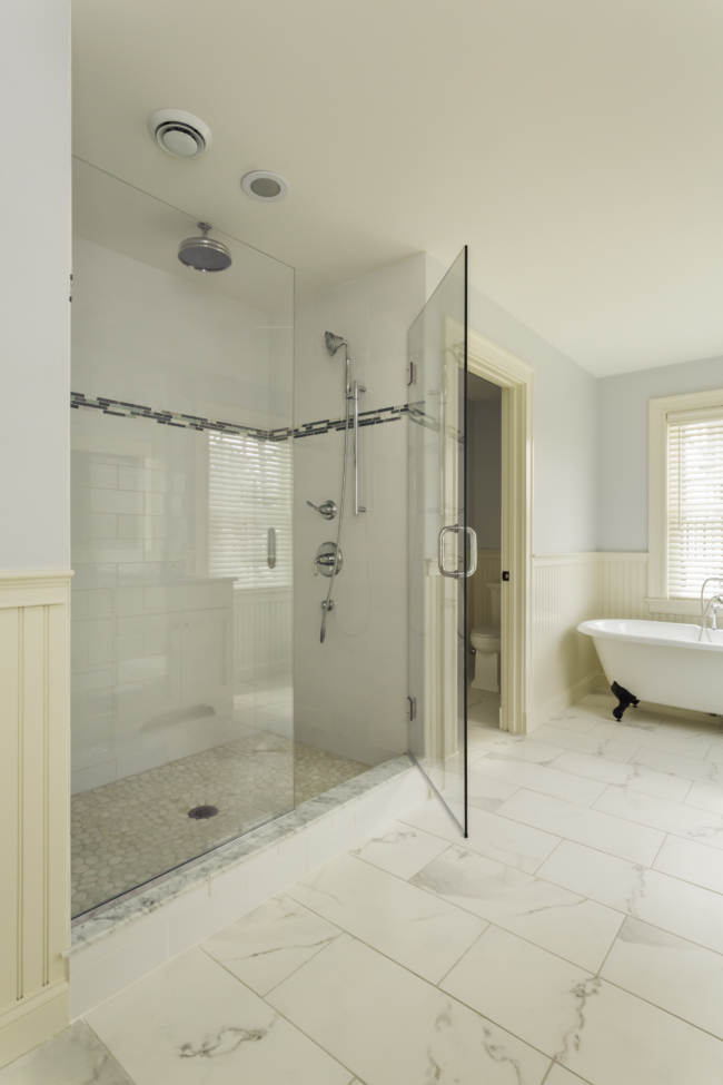 glass enclosed walk-in shower
