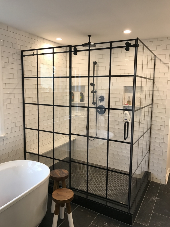 framed shower glass enclosure